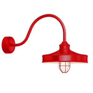 Nostalgia Red One-Light 14-Inch Outdoor Wall Sconce with 30-Inch Arm