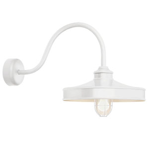 Nostalgia Gloss White One-Light 14-Inch Outdoor Wall Sconce with 30-Inch Arm
