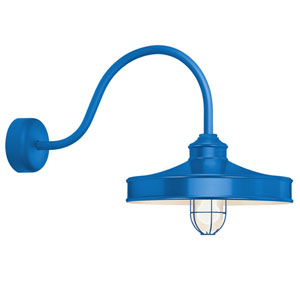 Nostalgia Blue One-Light 16-Inch Outdoor Wall Sconce with 23-Inch Arm