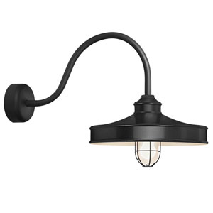 Nostalgia Black One-Light 16-Inch Outdoor Wall Sconce with 30-Inch Arm