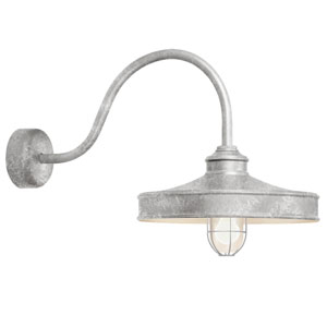 Nostalgia Galvanized One-Light 16-Inch Outdoor Wall Sconce with 30-Inch Arm