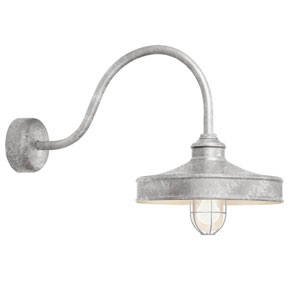 Nostalgia Galvanized One-Light 16-Inch Outdoor Wall Sconce with 23-Inch Arm