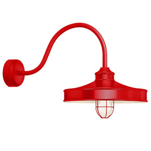 Nostalgia Red One-Light 16-Inch Outdoor Wall Sconce with 30-Inch Arm