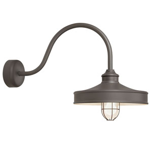 Nostalgia Textured Bronze One-Light 16-Inch Outdoor Wall Sconce with 23-Inch Arm