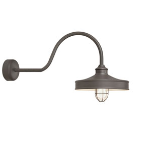 Nostalgia Textured Bronze One-Light 16-Inch Outdoor Wall Sconce with 30-Inch Arm
