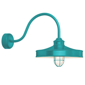 Nostalgia Tahitian Teal One-Light 16-Inch Outdoor Wall Sconce with 30-Inch Arm