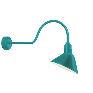 Angle Reflector Tahitian Teal One-Light 12-Inch Outdoor Wall Sconce with 30-Inch Arm
