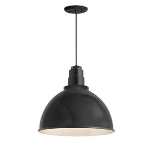 Deep Reflector Black One-Light 12-Inch Outdoor Pendant