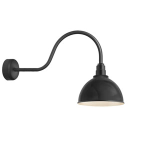 Deep Reflector Black One-Light 12-Inch Outdoor Wall Sconce with 30-Inch Arm