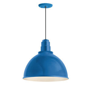 Deep Reflector Blue One-Light 12-Inch Outdoor Pendant