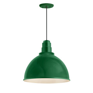 Deep Reflector Hunter Green One-Light 12-Inch Outdoor Pendant