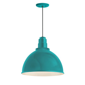 Deep Reflector Tahitian Teal One-Light 12-Inch Outdoor Pendant