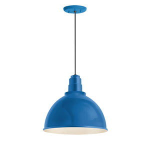 Deep Reflector Blue One-Light 16-Inch Outdoor Pendant