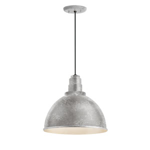 Deep Reflector Galvanized 16-Inch One-Light Outdoor Pendant