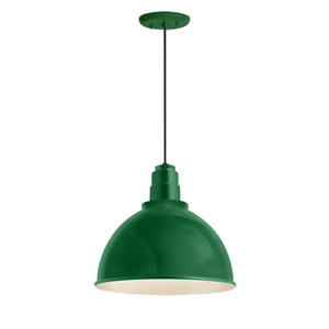 Deep Reflector Hunter Green One-Light 16-Inch Outdoor Pendant