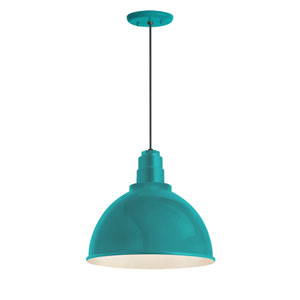 Deep Reflector Tahitian Teal One-Light 16-Inch Outdoor Pendant