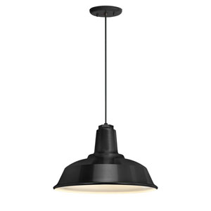 Heavy Duty Black One-Light 14-Inch Outdoor Pendant