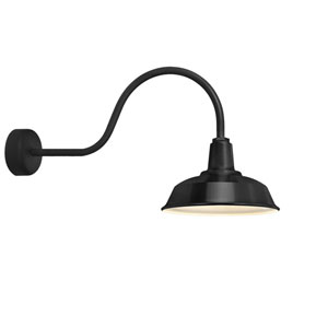Heavy Duty Black One-Light 14-Inch Outdoor Wall Sconce with 30-Inch Arm