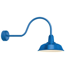 Heavy Duty Blue One-Light 14-Inch Outdoor Wall Sconce with 30-Inch Arm