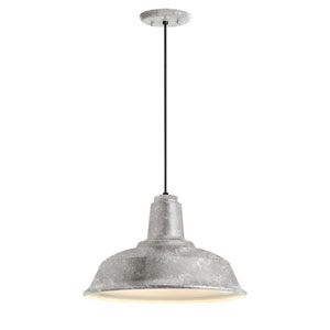 Heavy Duty Galvanized One-Light 14-Inch Outdoor Pendant