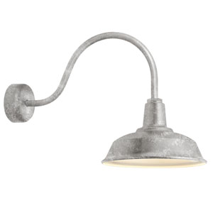 Heavy Duty Galvanized One-Light 16-Inch Outdoor Wall Sconce with 23-Inch Arm