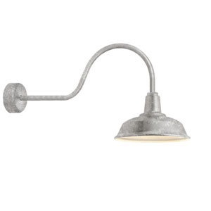 Heavy Duty Galvanized One-Light 16-Inch Outdoor Wall Sconce with 30-Inch Arm