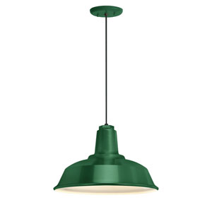 Heavy Duty Hunter Green One-Light 16-Inch Outdoor Pendant
