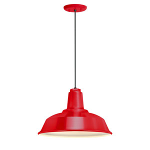 Heavy Duty Red One-Light 16-Inch Outdoor Pendant