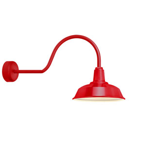Heavy Duty Red One-Light 16-Inch Outdoor Wall Sconce with 30-Inch Arm