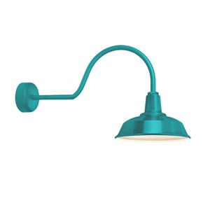 Heavy Duty Tahitian Teal One-Light 16-Inch Outdoor Wall Sconce with 30-Inch Arm