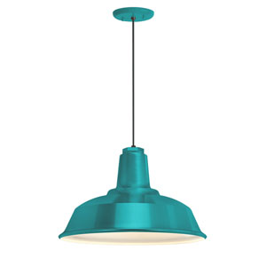 Heavy Duty Tahitian Teal One-Light 16-Inch Outdoor Pendant