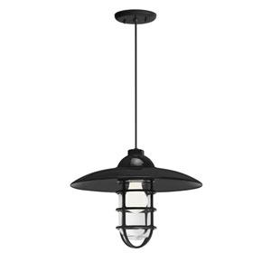 Retro Industrial Black One-Light Outdoor Dome Pendant