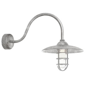 Retro Industrial Galvanized One-Light Outdoor Dome Wall Sconce with 23-Inch Arm