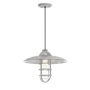 Retro Industrial Galvanized One-Light Outdoor Dome Pendant