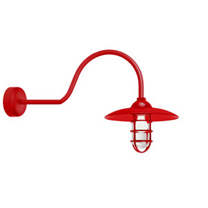 Retro Industrial Red One-Light Outdoor Dome Wall Sconce with 30-Inch Arm