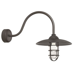 Retro Industrial Textured Bronze One-Light Outdoor Dome Wall Sconce with 23-Inch Arm