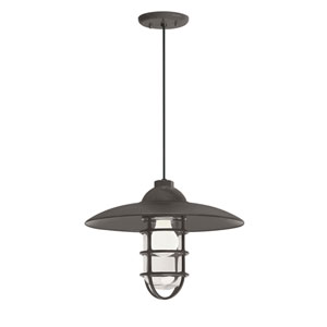 Retro Industrial Textured Bronze One-Light Outdoor Dome Pendant