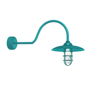 Retro Industrial Tahitian Teal One-Light Outdoor Dome Wall Sconce with 30-Inch Arm