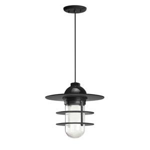 Retro Industrial Black One-Light Outdoor Flat Pendant