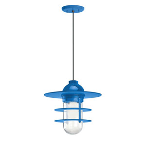Retro Industrial Blue One-Light Outdoor Flat Pendant