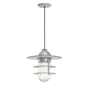 Retro Industrial Galvanized One-Light Outdoor Flat Pendant
