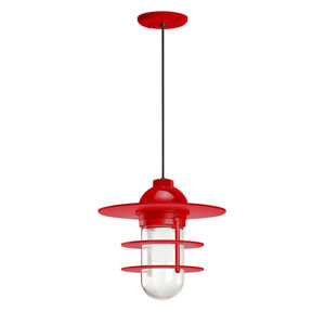 Retro Industrial Red One-Light Outdoor Flat Pendant
