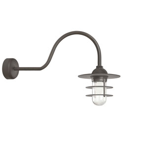 Retro Industrial Textured Bronze One-Light Outdoor Flat Wall Sconce with 30-Inch Arm