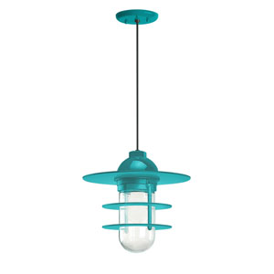 Retro Industrial Tahitian Teal One-Light Outdoor Flat Pendant
