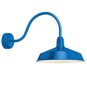 Standard Blue One-Light Outdoor Wall Sconce with 23-Inch Arm