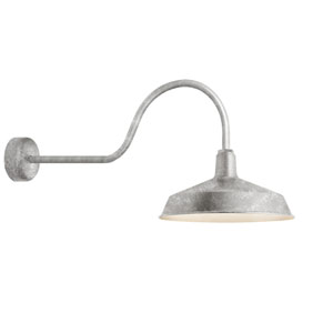 Standard Galvanized One-Light Outdoor Wall Sconce with 30-Inch Arm