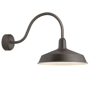 Standard Textured Bronze One-Light Outdoor Wall Sconce with 23-Inch Arm and White Trim