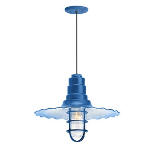 Radial Wave Blue One-Light 16-Inch Outdoor Pendant