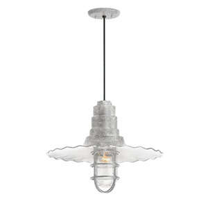 Radial Wave Galvanized One-Light 16-Inch Outdoor Pendant