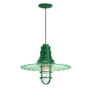 Radial Wave Hunter Green One-Light 16-Inch Outdoor Pendant